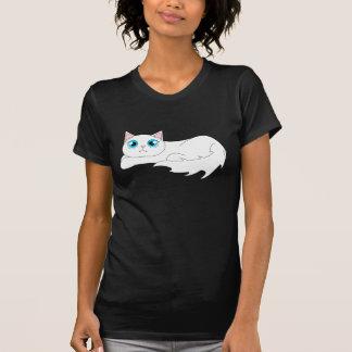 Dibujo animado blanco lindo del gato de Ragdoll Playera