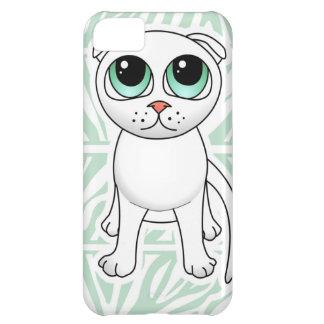 Dibujo animado blanco lindo del gato del doblez de funda para iPhone 5C