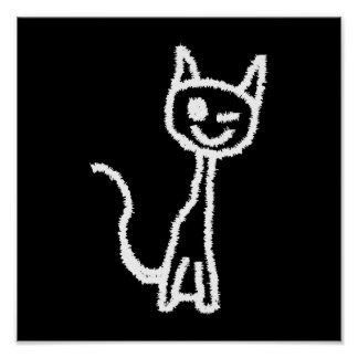 Dibujo animado blanco lindo del gato. En negro Póster