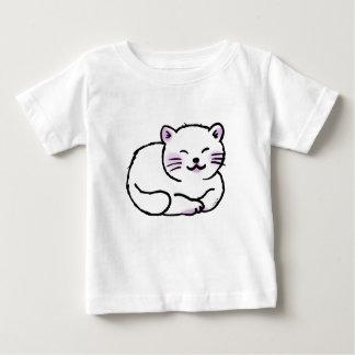 dibujo animado blanco mullido lindo del gato camisas