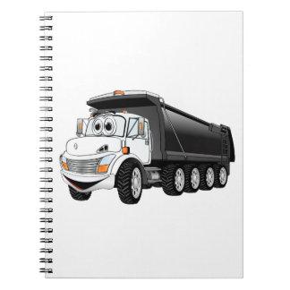 Dibujo animado blanco negro del camión volquete note book
