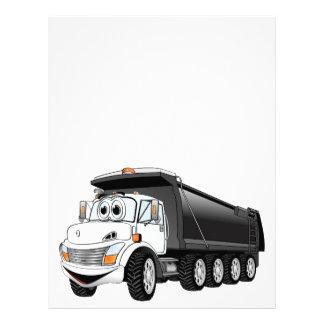 Dibujo animado blanco negro del camión volquete plantillas de membrete