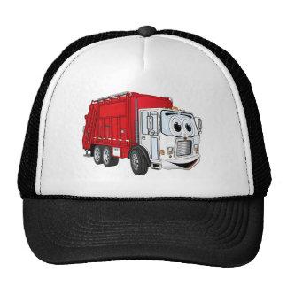 Dibujo animado blanco rojo del camión de basura gorras de camionero