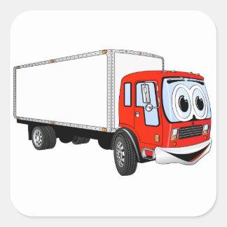 Dibujo animado blanco rojo grande del camión de pegatina cuadrada