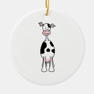 Dibujo animado blanco y negro de la vaca. Frente Adorno Redondo De Cerámica