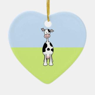 Dibujo animado blanco y negro de la vaca. Frente Adorno De Cerámica En Forma De Corazón