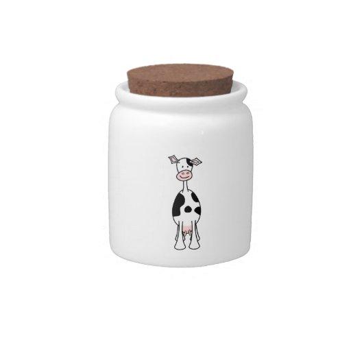 Dibujo animado blanco y negro de la vaca. Frente Platos Para Caramelos