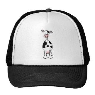 Dibujo animado blanco y negro de la vaca. Frente Gorro De Camionero