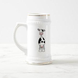 Dibujo animado blanco y negro de la vaca. Frente Jarra De Cerveza