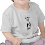 Dibujo animado blanco y negro de la vaca. Frente Camiseta