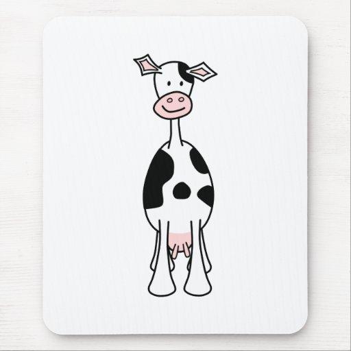 Dibujo animado blanco y negro de la vaca. Frente Tapetes De Raton