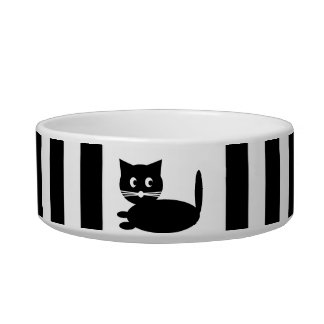 Dibujo animado blanco y negro del gato - cuenco de bol para gato