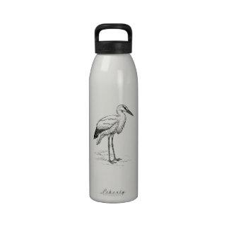 Dibujo animado blanco y negro del pájaro de la botella de agua reutilizable