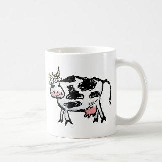 Dibujo animado blanco y negro divertido de la vaca taza clásica
