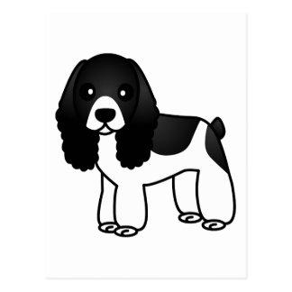 Dibujo animado blanco y negro lindo de cocker span postal