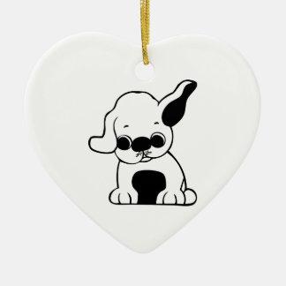 Dibujo animado blanco y negro lindo del perro de p ornamento para arbol de navidad