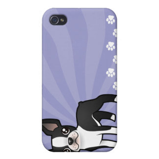 Dibujo animado Boston Terrier iPhone 4/4S Fundas