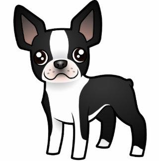 Dibujo animado Boston Terrier Imán Fotoescultura