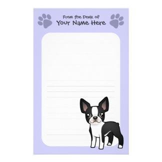 Dibujo animado Boston Terrier Personalized Stationery