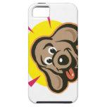Dibujo animado brillante de la cara del perro iPhone 5 carcasa