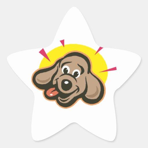 Dibujo animado brillante de la cara del perro pegatina en forma de estrella
