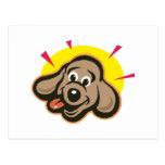 Dibujo animado brillante de la cara del perro postal