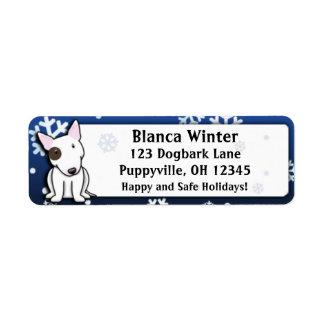 Dibujo animado bull terrier del invierno etiqueta de remite