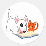 Dibujo animado Bullie y gatito con el pegatina del