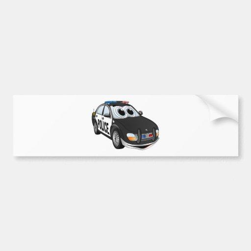 Dibujo animado BWB del coche policía Pegatina De Parachoque