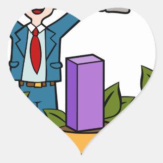 Dibujo animado cada vez mayor de la riqueza del pegatina en forma de corazón