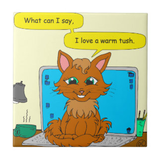 dibujo animado caliente del gato del tush 721 azulejo cuadrado pequeño