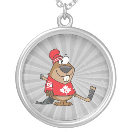 dibujo animado canadiense tonto del castor del hoc colgante redondo