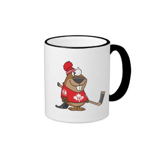 dibujo animado canadiense tonto del castor del hoc taza de café