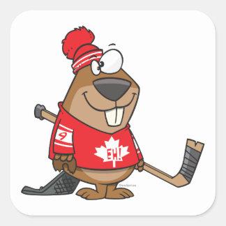 dibujo animado canadiense tonto del castor del calcomania cuadrada personalizada