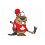 dibujo animado canadiense tonto del castor del postal
