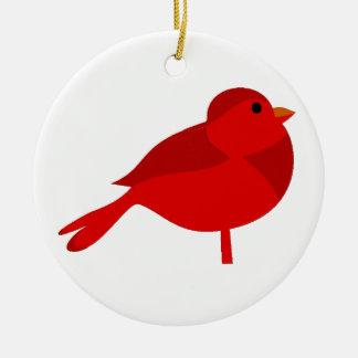 Dibujo animado cardinal rojo del petirrojo de adorno redondo de cerámica