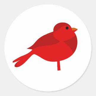 Dibujo animado cardinal rojo del petirrojo de pegatina redonda