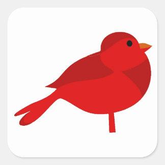 Dibujo animado cardinal rojo del petirrojo de pegatina cuadrada
