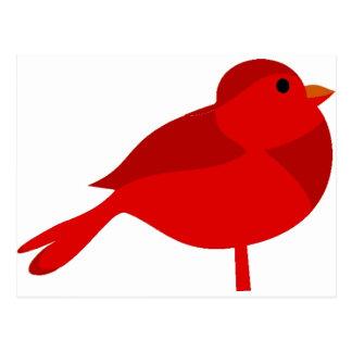 Dibujo animado cardinal rojo del petirrojo de postal