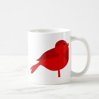 Dibujo animado cardinal rojo del petirrojo de taza básica blanca