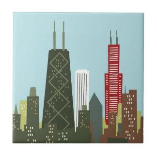 Dibujo animado Chicago Azulejo Cuadrado Pequeño