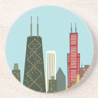 Dibujo animado Chicago Posavasos Personalizados