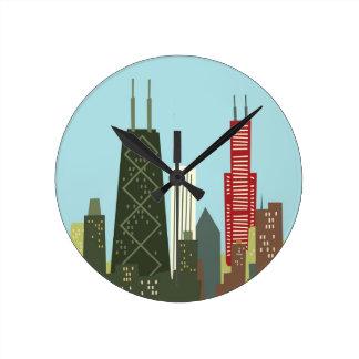 Dibujo animado Chicago Reloj Redondo Mediano