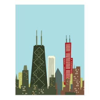 Dibujo animado Chicago Tarjeta Postal