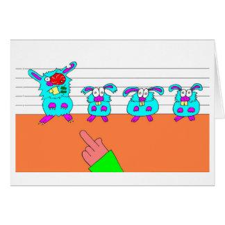 Dibujo animado chistoso: Conejos Tarjeton