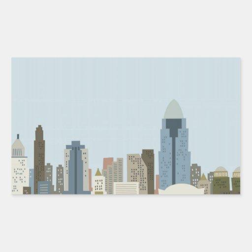 Dibujo animado Cincinnati Rectangular Pegatinas