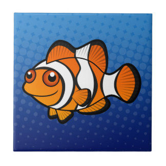 Dibujo animado Clownfish Azulejo Cuadrado Pequeño