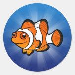 Dibujo animado Clownfish Etiquetas Redondas