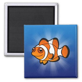 Dibujo animado Clownfish Imán Cuadrado