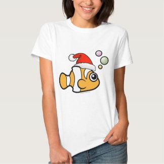 Dibujo animado Clownfish Santa Poleras